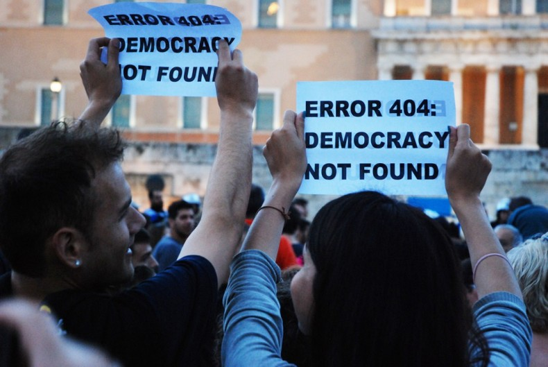 Greek protesters pointing out the obvious